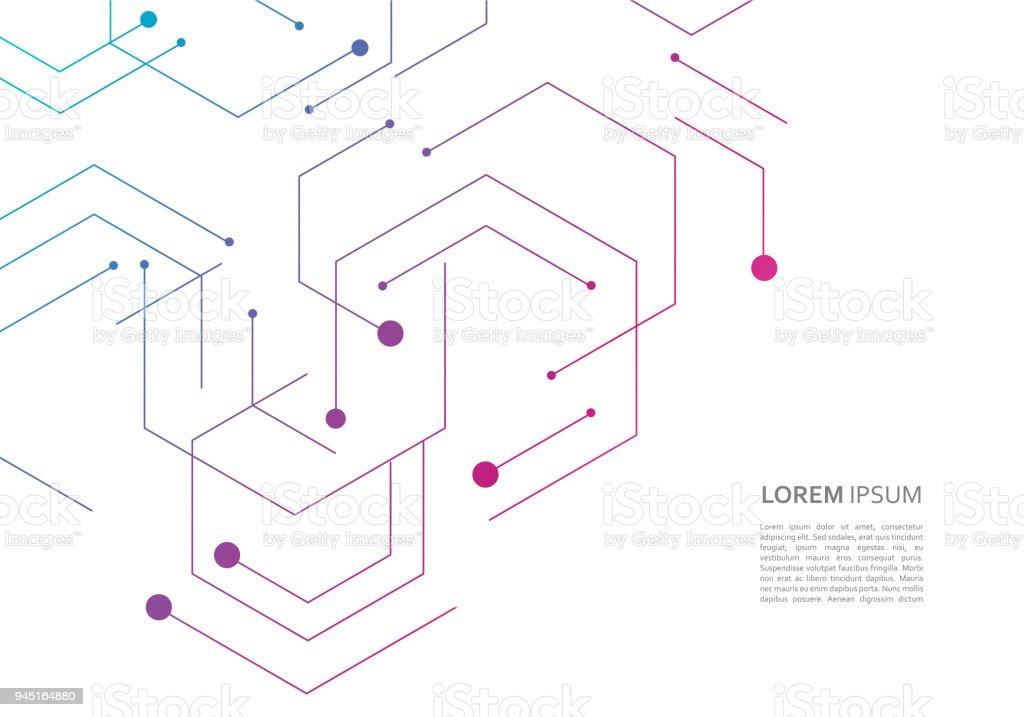 Ilustración de Patrón De La Red De Ciencia Conexión De Líneas Y ...