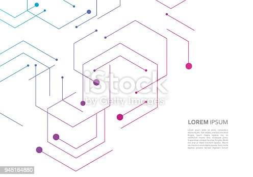 istock Science network pattern, connecting lines and dots on simple background 945164880
