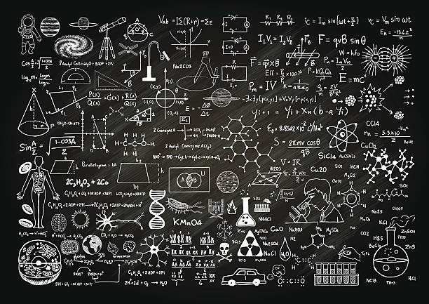 science on chalkboard - algorithm stock illustrations