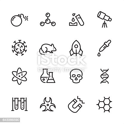 16 line black and white icons / Set #15