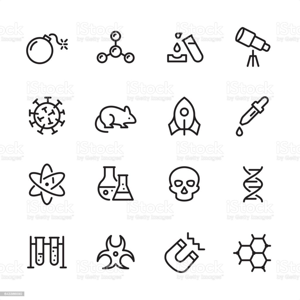 Science - outline icon set vector art illustration