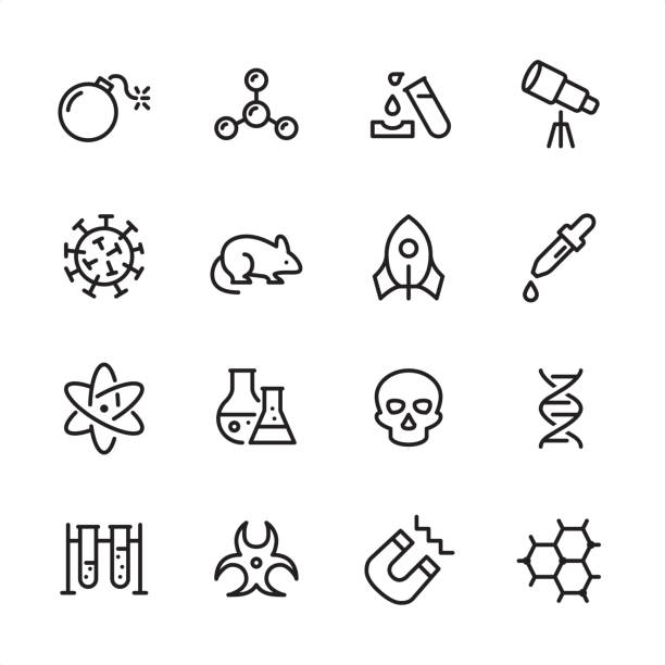 science - outline icon set - bio tech stock illustrations, clip art, cartoons, & icons