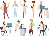 Science people. Characters chemistry biology innovation doctors working in scientific laboratory vector mascot design. Illustration of scientific people, character research experiment