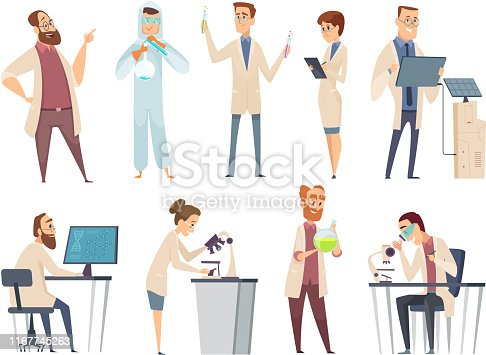 istock Science people. Characters chemistry biology innovation doctors working in scientific laboratory vector mascot design 1167745263