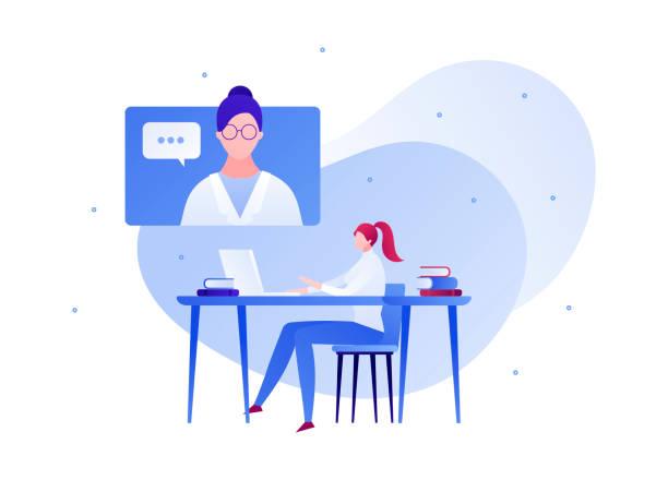 ilustraciones, imágenes clip art, dibujos animados e iconos de stock de ilustración plana de la persona de la ciencia. concepto de conferencia de científicos en línea. - telehealth