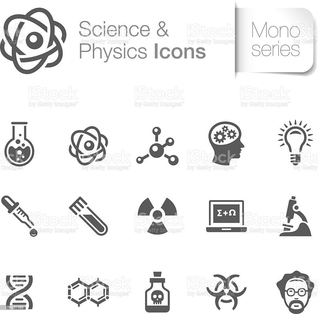 Ciência física com ícones & - ilustração de arte vetorial