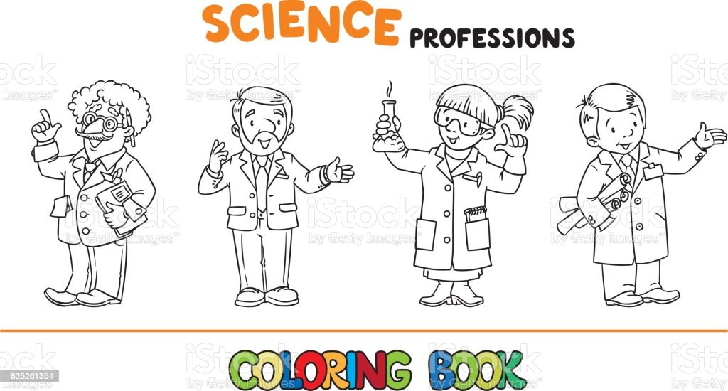 Science Professions Coloring Book Set stock vector art 825261354 ...