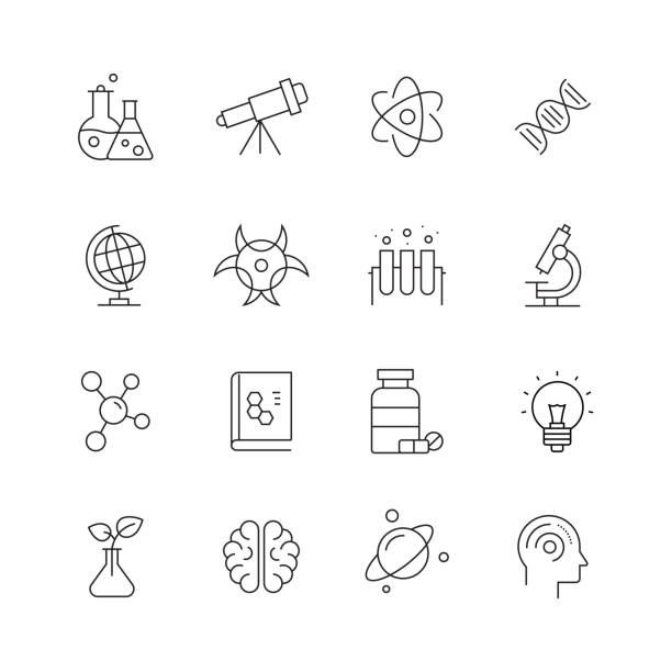 science related-set of thin line vector icons - biotechnologie stock-grafiken, -clipart, -cartoons und -symbole