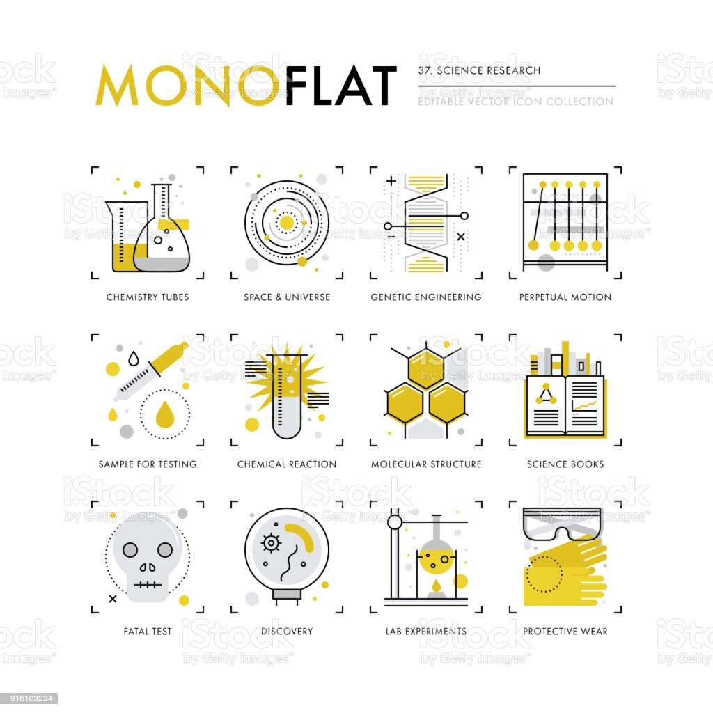 Science Research Monoflat Icons vector art illustration