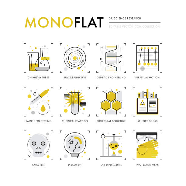 science research monoflat icons - bio tech stock illustrations, clip art, cartoons, & icons