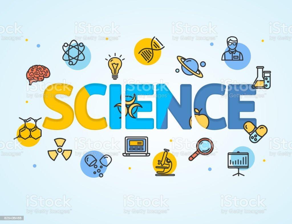 Ciencia Investigación Plantilla Línea Icono Concepto Papel Arte ...