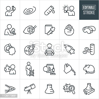 A set of science icons that include editable strokes or outlines using the EPS vector file. The icons include scientists, science experiments, galaxy, test tube, microscope, science education, lab equipment, pharmaceuticals, DNA, lab rat, telescope, virus and beaker to name a few.