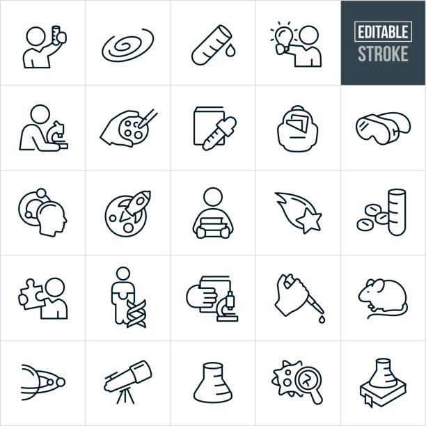 Science Research Thin Line Icons - Editable Stroke A set of science icons that include editable strokes or outlines using the EPS vector file. The icons include scientists, science experiments, galaxy, test tube, microscope, science education, lab equipment, pharmaceuticals, DNA, lab rat, telescope, virus and beaker to name a few. microbiologist stock illustrations