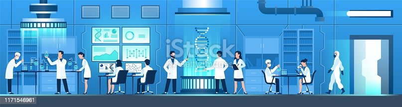 Science researching lab. Biotechnology genetic research, modification dna molecular tests. Genetic engineer scientists. Vector working laboratory doctors equipments testing medical researcher concept