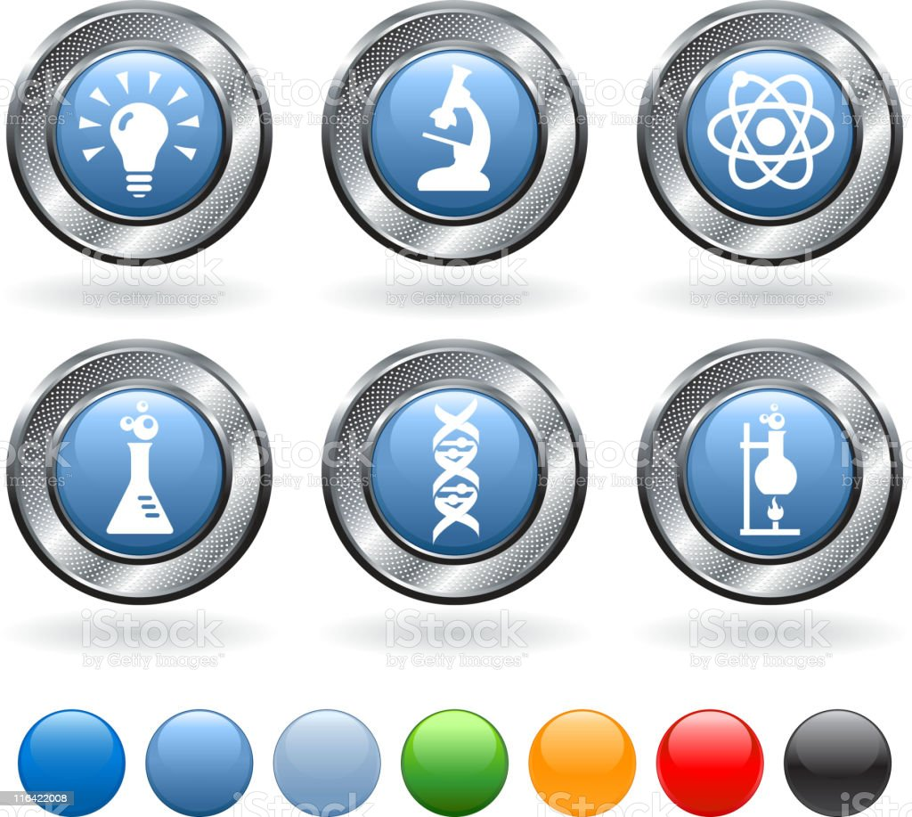 Science royalty free vector icon set on metallic button royalty-free stock vector art