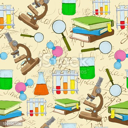 Science education sketch seamless background with book equation loupe vector illustration