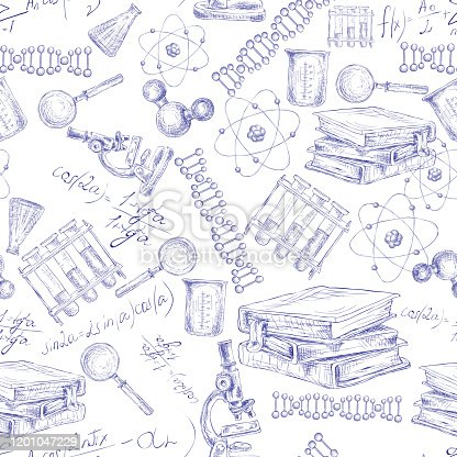 Science sketch seamless pattern with microscope flask atom dna structure vector illustration