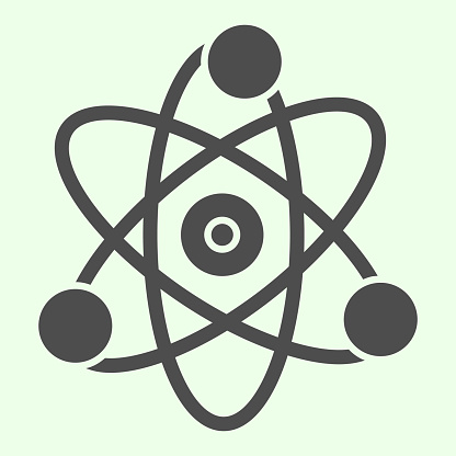 Science solid icon. Atom, electron symbol glyph style pictogram on white background. School chemistry and Education signs for mobile concept and web design. Vector graphics.