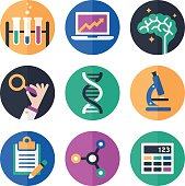 Science, research, mathematics and education symbols and icon collection. There are 9 symbols and icons including a set of beakers, a statistics laptop, a brain symbol and a hand holding a magnifying glass. There is also a representation of DNA, a microscope, clipboard, molecule and calculator symbol. EPS 10 file. Transparency effects used on highlight elements.