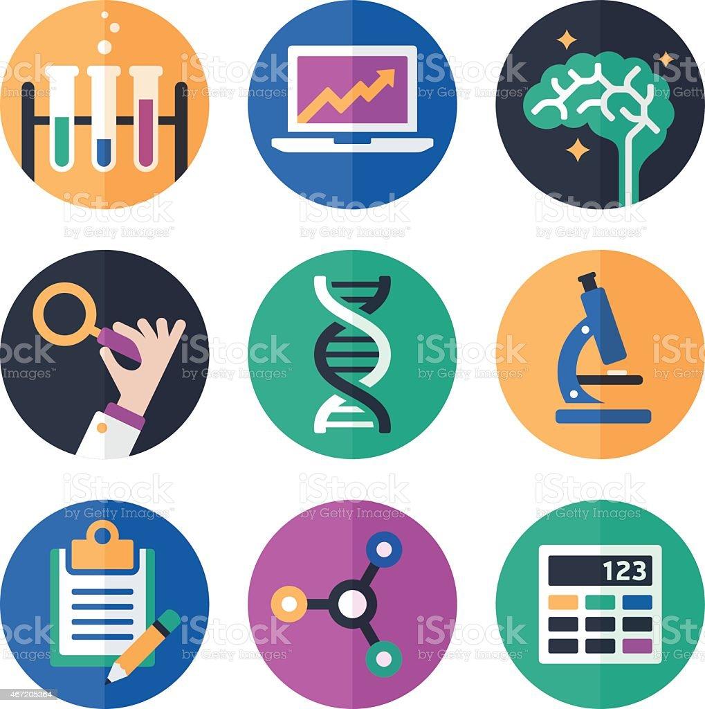 Wissenschaft Symbole und Icons – Vektorgrafik
