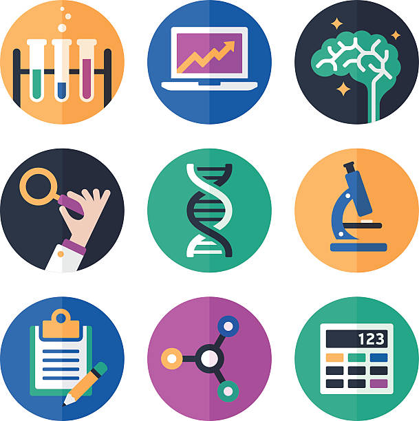 Science Symbols and Icons vector art illustration