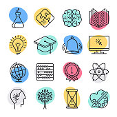 Modern science teaching and reasoning doodle style concept outline symbols. Line vector icon sets for infographics and web designs.