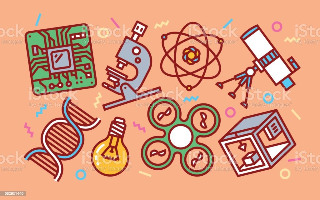 Science Technology Concept Line Art Bright Colors Illustration. Contemporary Trendy Vector Icons. royalty-free science technology concept line art bright colors illustration contemporary trendy vector icons stock vector art & more images of 3d printing