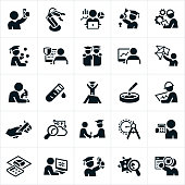 STEM (Science, Technology, Engineering, Mathematics) education icons. The icons include scientists, engineers, mathematicians, students, software engineer, technology, science lab equipment, engineering tools, computers and other related themes.