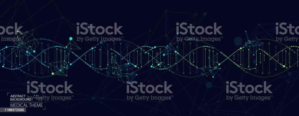 Science template, abstract background with a 3D DNA molecules. Vector illustration. - Royalty-free Abstract stock vector