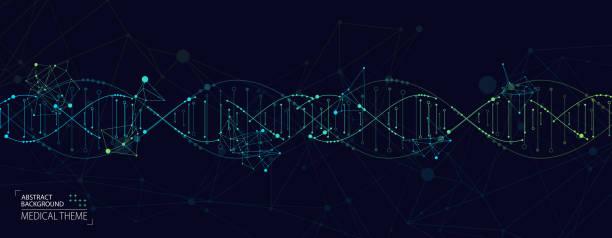 ilustraciones, imágenes clip art, dibujos animados e iconos de stock de plantilla científica, fondo abstracto con moléculas de adn 3d. ilustración vectorial. - adn