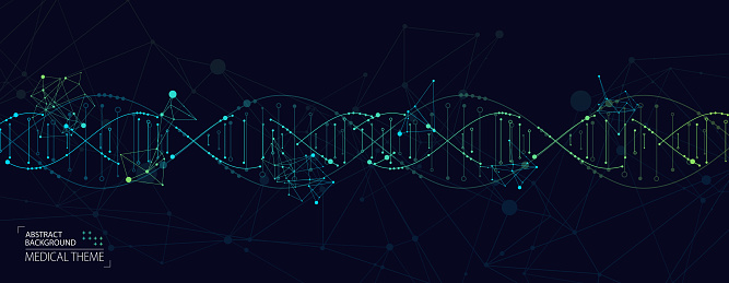 Science Template Abstract Background With A 3d Dna Molecules Vector Illustration Stock Illustration - Download Image Now