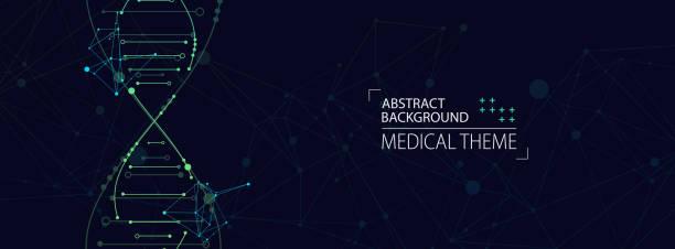 Wissenschaftsvorlage, abstrakter Hintergrund mit einem 3D-DNA-Molekül. Vektor-Illustration. – Vektorgrafik