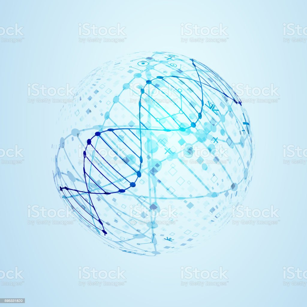 Science template, DNA background. vector art illustration