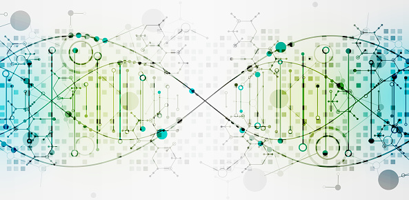 Science Template Dna Molecules Background Stock Illustration - Download Image Now