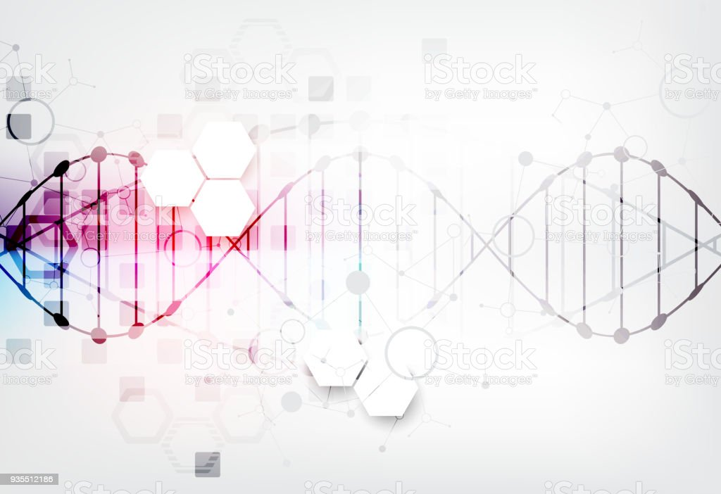 Science template, DNA molecules background. vector art illustration
