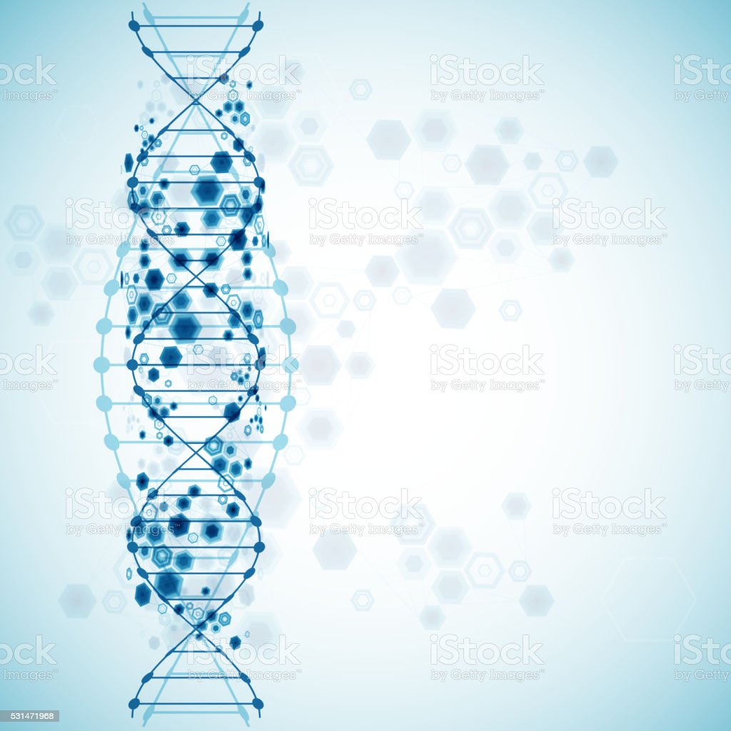 Dna Model Wallpaper: Science Template Wallpaper Or Banner With A Dna Molecules