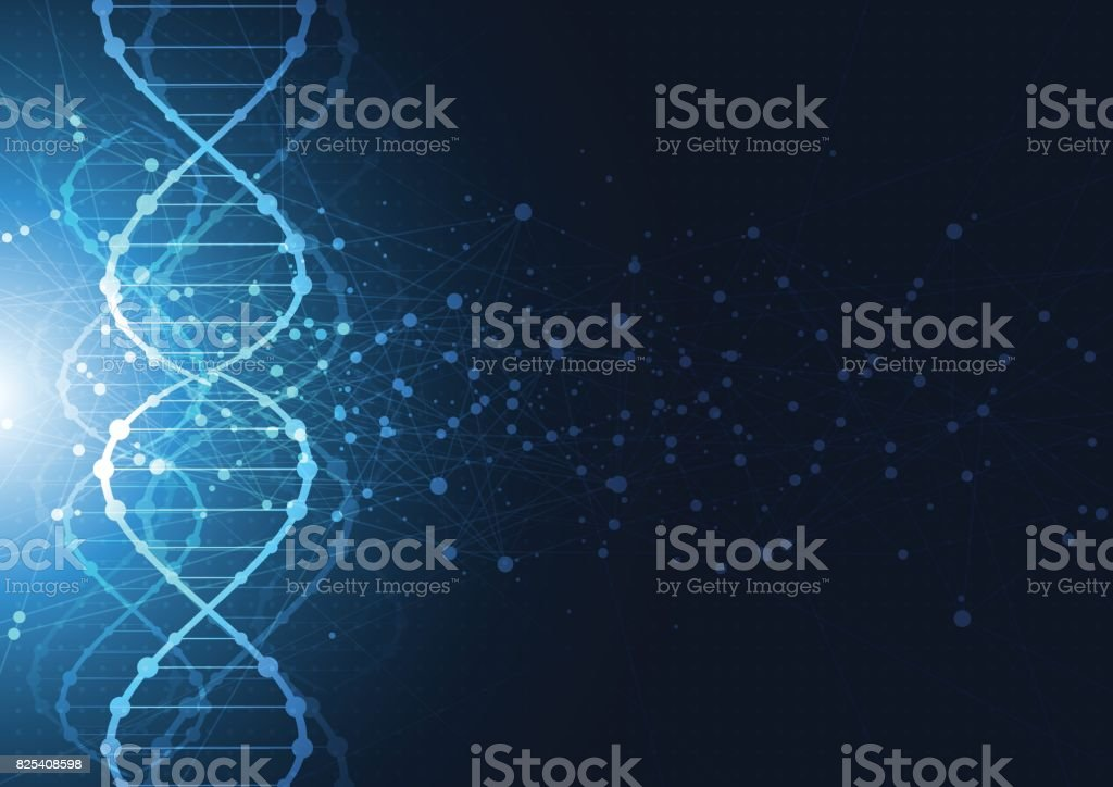 Science template, wallpaper or banner with a DNA molecules. vector art illustration