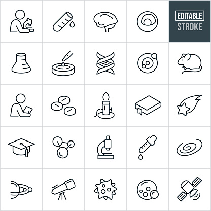 Science Thin Line Icons - Editable Stroke