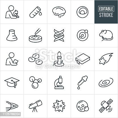 A set science icons that include editable strokes or outlines using the EPS vector file. The icons include scientists, science, test tube, lab beaker, brain, atom, nucleus, petri dish, DNA strand, lab rat, research, experiement, burner, shooting star, education, molecular structure, eye dropper, galaxy, solar system, virus, super bug, satelitte and planets.