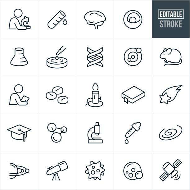 ilustraciones, imágenes clip art, dibujos animados e iconos de stock de ciencia delgada línea iconos - trazo editable - laboratorio de ciencia