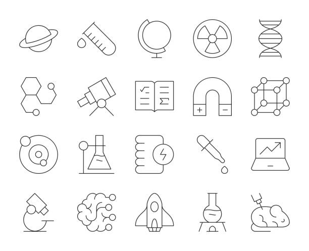 science - thin line icons - astronomy telescope stock illustrations