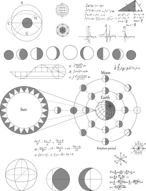 sciense moon phases scheme, vector background - astronomy telescope stock illustrations