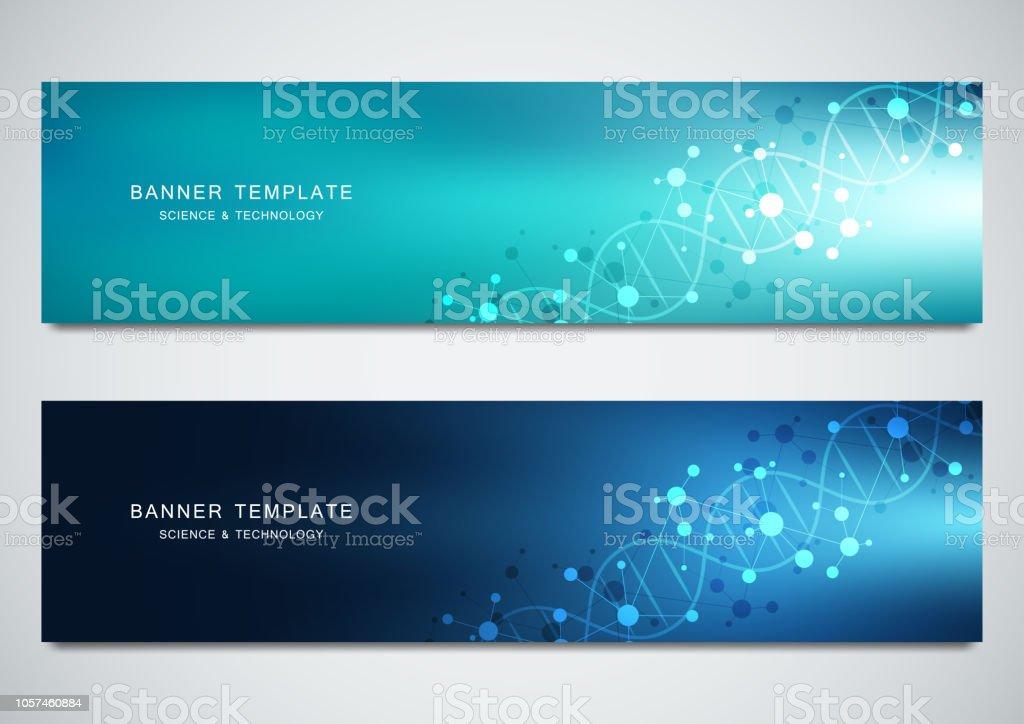 Wissenschaftliche Und Technologische Vektor Banner Zusammenfassung