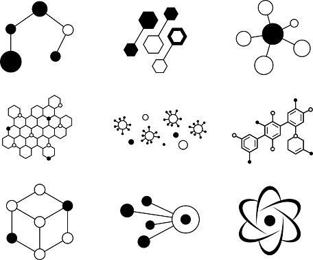 molecular hexagon complex pattern design elements