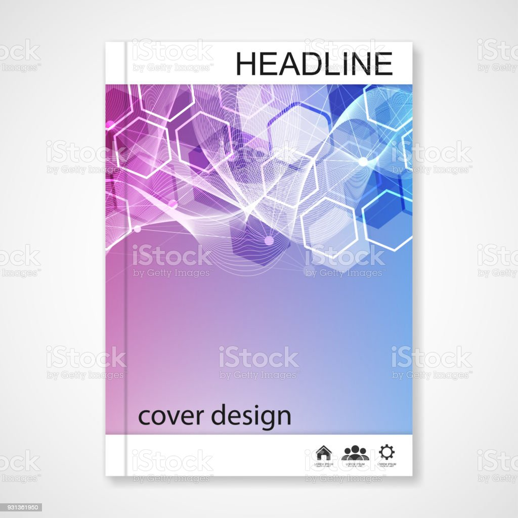 scientific brochure design template vector flyer layout molecular structure with connected lines and dots