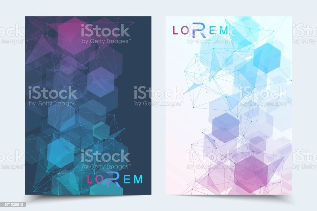 Scientific Brochure Design Template Vector Flyer Layout Molecular
