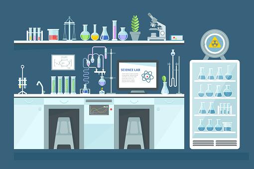 Scientific chemical laboratory, conducting experiments, research in laboratory, interior