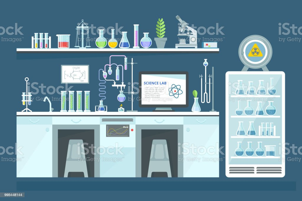 Scientific chemical laboratory, conducting experiments, research in laboratory, interior vector art illustration