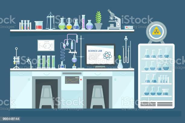 Wetenschappelijke Chemisch Laboratorium Experimenten Onderzoek In Laboratorium Interieur Stockvectorkunst en meer beelden van Analyseren
