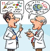 Vector illustration of two elderly scientists having an heated debate. Concept for scientific disagreement, climate change or global warming.